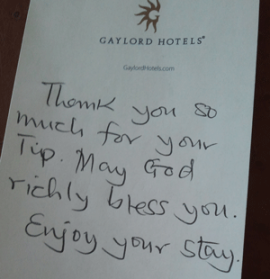 note from housekeeping